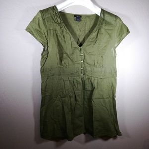 Ann Taylor olive green summer Blouse